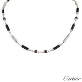 Cartier White Gold Diamond, Onyx & Ruby Le Baiser Du Dragon Necklace